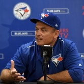Apr 1, 2017; Montreal, Quebec, CAN; Toronto Blue Jays manager John Gibbons gives a press conference before the game against the Pittsburgh Pirates at Olympic Stadium. Mandatory Credit: Eric Bolte-USA TODAY Sports