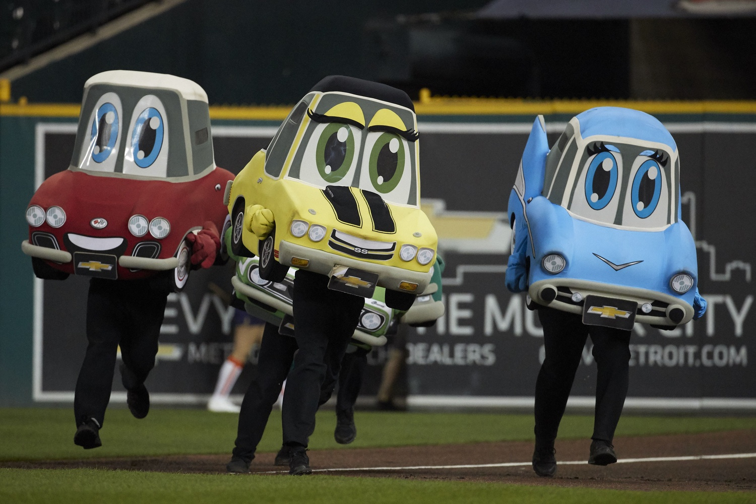 Sep 5, 2017; Detroit, MI, USA; Motor City Wheels Mascot Race takes place during the fourth inning of the game between the Detroit Tigers and the Kansas City Royals at Comerica Park. Mandatory Credit: Rick Osentoski-USA TODAY Sports