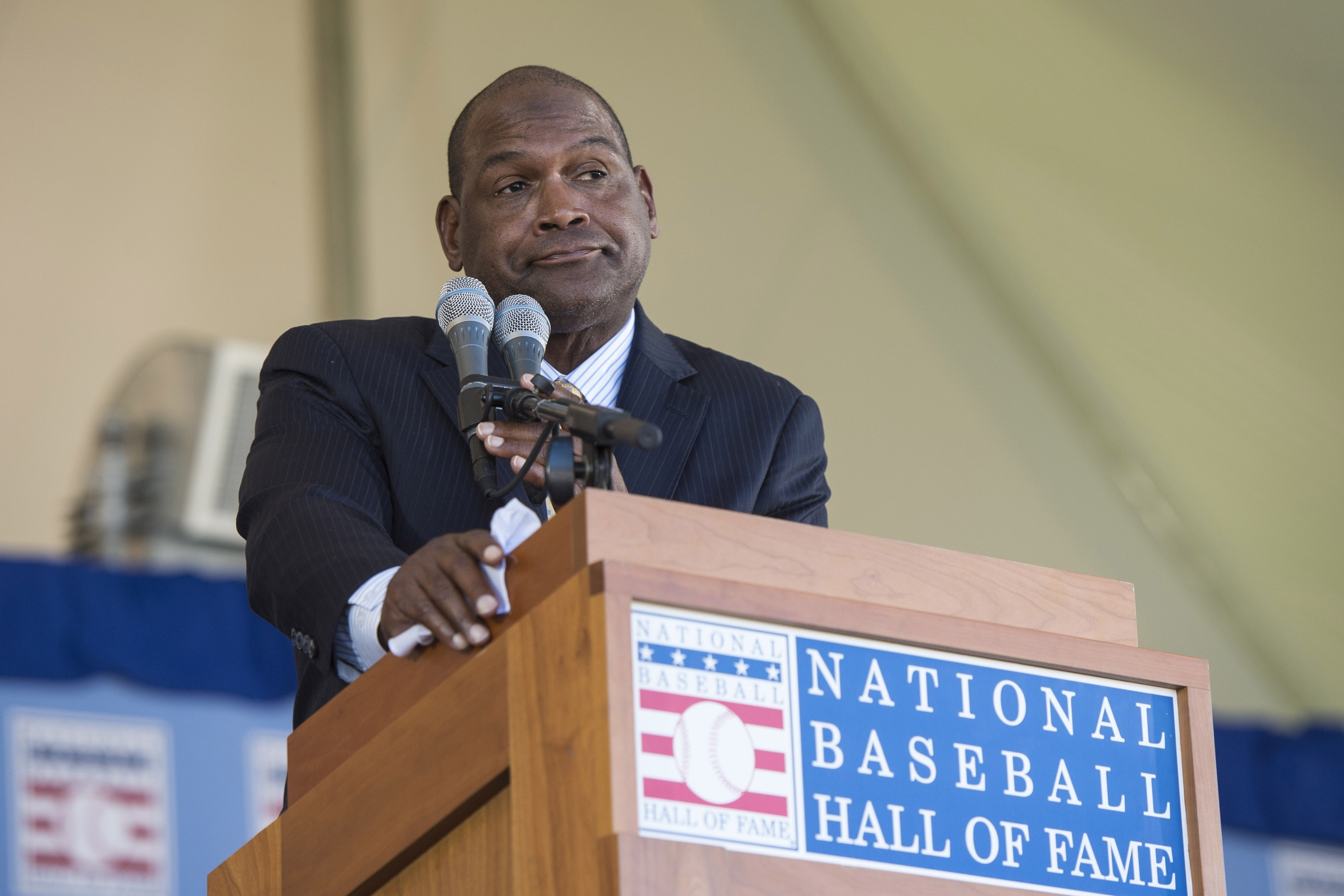 Jul 30, 2017; Cooperstown, NY, USA; Hall of Fame Inductee Tim Raines making his acceptance speech at Clark Sports Center. Mandatory Credit: Gregory J. Fisher-USA TODAY Sports